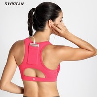SYROKAN Women's High Impact Sport Bra With Back Pocket Front Zipper Workout Bra