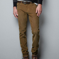SLIM FIT CORDUROY TROUSERS - Trousers - Man - ZARA United States