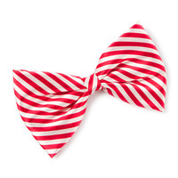 Candy Cane Striped Satin Bow Hair Clip