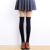 Womens Lady Girls Fashion Warm Opaque Knit Over Knee Thigh High Socks = 1958506244