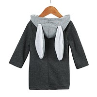 2017 Cute Kids Baby Infant Autumn Winter Cotton Fashion Hooded Coat Cute Rabbit Ear Jacket Thick Warm Clothes For 1-8Year Child