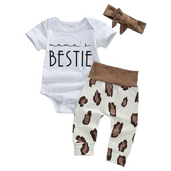 Mama's Bestie Onesuit and Pant Set Baby Girl with Headband Animal Print Pants