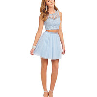 Sequin Hearts Daisy Lace to Mesh 2-Piece Dress   Dillards