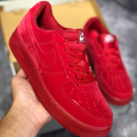 KUYOU N457 Nike Air Force 1 AF1 LV8 LTR Low Suede Fashion Casual Skate Shoes Red