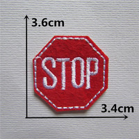 1PCS new style red color STOP Logo patch Clothing accessories Embroidery Applique Decoration Accessories patches