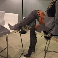 Grey Pointed Toe Over The Knee High Boots