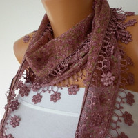 ON SALE - 50% OFF - Cinnamon Scarf   Cotton Scarf  Cowl with Lace Edge  Flowers Multicolor Gift for Her