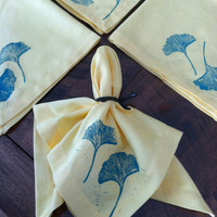 Hand crafted block print Ginko leaf stamped on yellow napkins. (4)