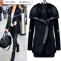 winter black turn down fur collar wool coat women's leather patchwork Zipper wool jacket outerwear = 1931754116