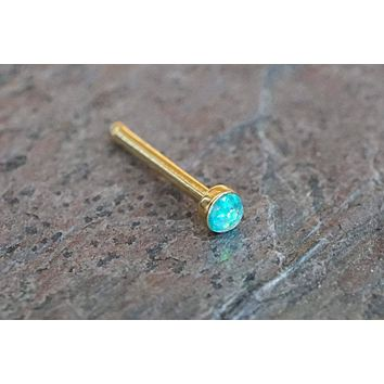 Gold Nose Ring Gold Nose Stud with 2mm Teal Opal