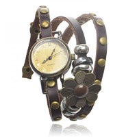 Leather Wrap Watch with Flower