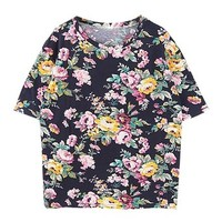 ZLYC Women's Retro Floral Print Casual T-shirt (Navy)