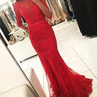 Red Beaded Lace Appliques Mermaid Long Prom Dresses 2017 Half Sleeves Boat Neck Open Back Sexy Sparkly Elegant Evening Prom Gown