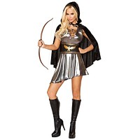 Sexy Katniss Everdeen Hunger Games Lace-Up Dress with Waist Cincher and Hooded Cape