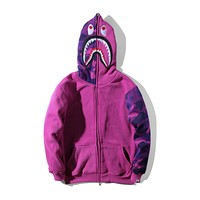 BAPE street hip hop street fashion camouflage shark hooded sweater F-A-KSFZ Purple