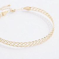 Gold Tone Braided Collar Necklace