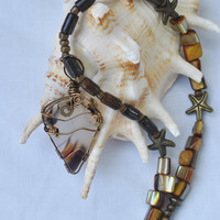 Wire wrapped agate necklace; wood bead necklace; starfish necklace; montana agate; wire wrapped stone; brown bead necklace; plume agate
