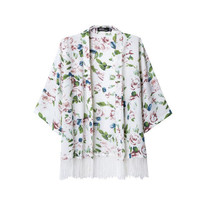 Floral Print Flared Sleeve Fringed Cardigan