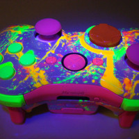 Neon Paint Ball Custom Xbox 360 Controller by ProModz by ProModz