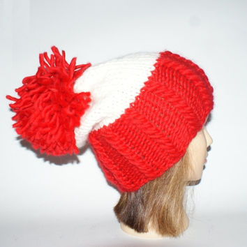 Irish handknit wheres wally waldo novelty hat red and white slouchy hats with pompom fun knitted wool hats for chunky yarn unisex hat