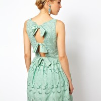ASOS Premium Skater Dress In Broderie With Bow Back