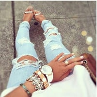 Frayed Ripped Destroyed BoyFriend Denim Jeans