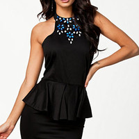 Black Jewelled Halterneck Backless Peplum Dress