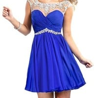 Babyonline Beaded Chiffon Prom Dresses 2015 Short Summer Homecoming Gown