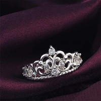 DCCKLM3 Women Princess Silver Plated Crown Ring Wedding Engagement Ring Jewelry Size 6-9