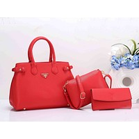 Prada Stylish Women Shopping Bag Leather Handbag Shoulder Bag Crossbody Purse Wallet Set Three Piece(5-Color) Red I-XS-PJ-BB