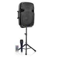 """15"""" Two way Active Bluetooth Loudspeaker Package with Tripod, Speaker Stand & Microphone"""