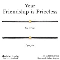 Friendship is Priceless 2-Set Bracelet - Black and Gold