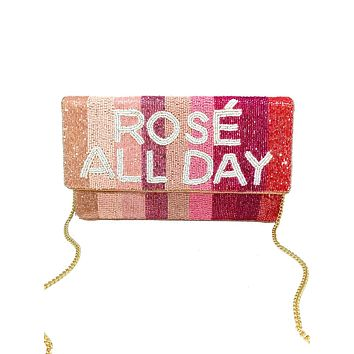 ROSE ALL DAY Beaded Striped Bag