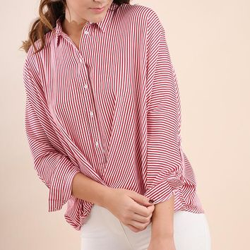 Striped Button Down Shirt with Gathered Hem