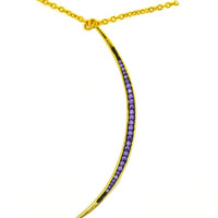 Purple Rain Crescent Moon Necklace