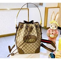 GUCCI Fashion Women Shopping Bag Leather Bucket Bag Shoulder Bag Crossbody Satchel Backpack