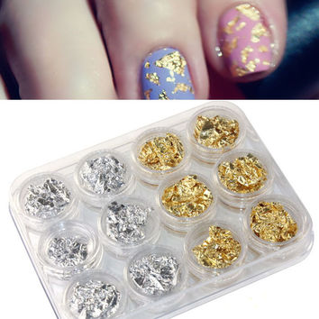 Toopoot's Vestido 2017 DIY 12PC Nail Art decorations Paillette Flake Chip Foil DIY Acrylic UV Gel Pager Nails professional Prego