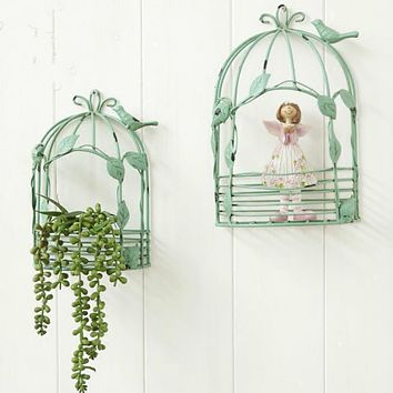DUNXDECO Home Office Storage Iron Wall Flora Holder Vintage Country Style Green Old Finish Bird Cage Decoration