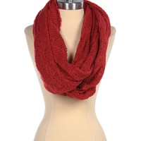 Paula Bianco Frayed Infinity Scarf in Red - Red