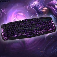 Computer Accessories 3 Colors Crack Illuminated LED Backlight USB Wired Multimedia PC Gaming Keyboard - L059 New hot