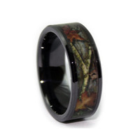 Camo Ring - Black Wedding Band - Leafy Camo Wedding Ring - Ceramic GREAT for Electricians!
