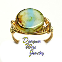 DWJ0332 Stunning Czech Glass Ocean Beach Dreams Gold Wire Wrapped Ring All Sizes