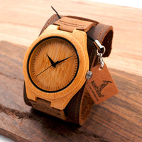 New Men Design Bamboo Wristwatches With Wider Genuine Cowhide Band for Men and Women Luxury Wood Wrist Watch as Gifts