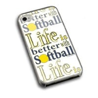 Life is Better with Softball iPhone Case (iPhone 4/4S) with Red Background