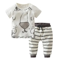 Newborn Toddler Infant Kids Baby Boy Clothes Summer Cartoon Little Lion T-shirt Tops Long Pants Outfit Set Baby Clothing Set