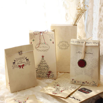 6PCS Set Merry Christmas Gift Bags Kraft Paper Wedding Candy Treat Bag For Party Favor Kawaii Bread Cookies Food Packaging Bags