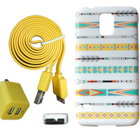 New Aztec Primitive Arrow Samsung Galaxy S5 Case + Dual Wall 3.0 USB Color Charger Yellow Cable Back Cover Tribal African i9600 c27-YellowW