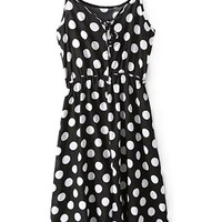 ROMWE Straps Polka Dots Print Elastic Black Dress