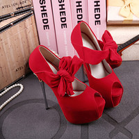 Women Fashion Velvet Bow Strap Platform Pumps Wedding Shoes