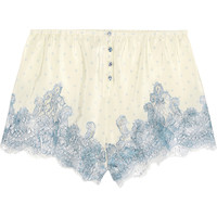 Rosamosario - Bollicine Love Chantilly lace-trimmed printed silk crepe de chine shorts